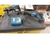 Makita cordless 18 volt sds hammer drill recipicating saw 2 bats charger