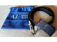 Armani mens black leather belt