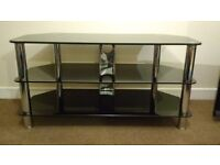 Large Glass TV Stand - black