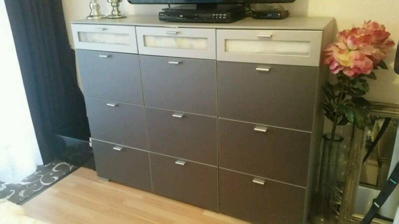 Sideboard highboard schrank kommode grau 12 f cher in for Highboard 50 cm tief