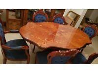Italian mahogany dining table and 6 chairs