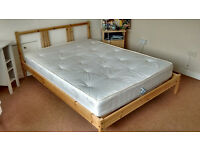 2 Ikea pine wood double beds and mattresses