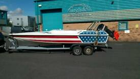 Phantom 21 speed boat for sale. Rare one off build by Steve Baker' Stars and stripe