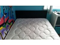Small double bed, faux leather bed with head board and memory foam mattress.