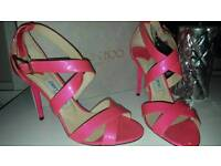 JIMMY CHOO neon pink sandals. Heels