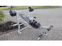 WEIGHTS BENCH WITH BUTTERFLY & 50KG WEIGHTS & BARS