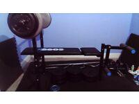 Bench, 85kg weights, bars, dumbbells and floor mats