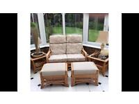 Immaculate conservatory furniture for sale. 2 seat sofa, 2 footstools and 2 side tables