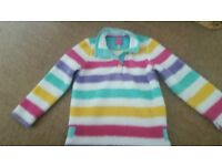 Gorgeous Joules 8 year old girls fluffy striped top