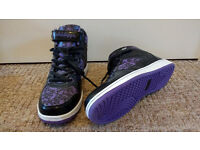 Brand New, never worn Golddigga, Purple and Black patterned ankle boots, Size 5