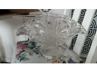 cut glass /crystal vase bowl large and heavy very good quality Romany