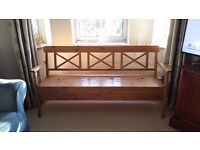 Wooden dinning bench. Great for seating extra bodies around the table & has storage under the seat.