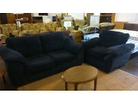 Black fabric 2 seater sofa with armchair (delivery available)