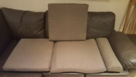 Brown seat cushion and footstool cushion for Ikea poang chair and matching footstool