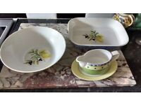 Royal Dalton salad/fruit bowl, gravy boat and oven dish