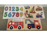 4 WOODEN JIGSAW BUNDLE IDEAL FOR 2 YEAR OLDS