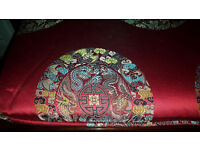 Red Silk Chinese Embroidery Chair Cushion Covers