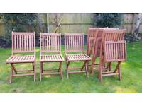 6 Folding Wooden garden Chairs