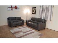 Ex-display Italian Ravenna grey leather 3+2 seater sofas