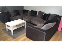 2 x corner sofas, black and grey