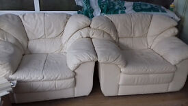 Cream Leather Suite (2 Seater & Armchairs) OPEN TO OFFERS