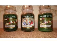 3 Yankee candles - large jars, festive christmas fragrences £15 each or all 3 for £40