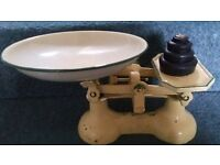 Genuine Set of Vintage Kitchen Scales and Weights