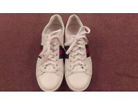 Authentic Gucci Children Kids Shoes White Lace Up Trainers 8-10 yrs Size 8 Used