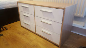 HOME New Sywell 3+3 Drawer Chest - Oak Effect & White Gloss, 4 months old