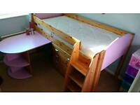 Stompa Rondo midsleeper cabin bed with desk & chest of drawers