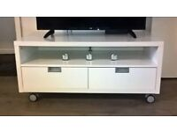 ikea tv unit white high gloss on wheels for easy moving