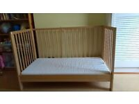 IKEA cot bed with 2 mattresses