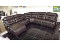 Brown leather 5 piece lounger corner sofa (300) £999