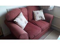 2-Seater Sofa (1 of 2) - Terracotta Coloured - Pet Free/Smoke Free