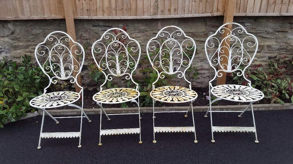Shabby chic garden furniture patio set bistro metal table and chairs vintage ornate style in - Shabby chic outdoor furniture ...