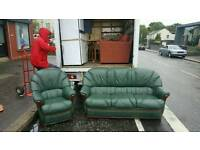 Very nice 3 seater sofa and armchair in a dear grade of leather