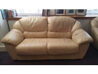 Cream / beige leather sofa