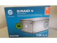 **NEW GRAID G-RAID G-TECHNOLOGY 8TB RAID DISK BACKUP ENTERPRISE STORAGE HARD DRIVE USB3 THUNDERBOLT*
