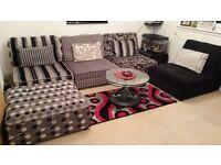 Set of 5 Modern Modular Sofas + 4 Cushions