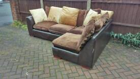 Brown fabric corner sofa (free delivery)