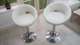 Cream faux leather and chrome bar stools - set of 4
