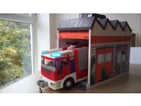 Playmobil Fire Engine Truck with Take Along Fire Station