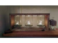 Rustic Wooden Candle Holder Handmade homemade wooden frame glass jar tea lights