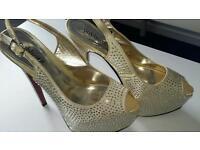 nude gold high heels