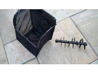 Scarifer/raker cylinder and grassbox for scarifier/raker