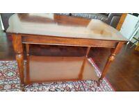 Mahogany Finish Coffee Table with Shelf