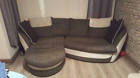 Large 4 seater cuddle sofa and footstool