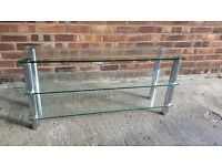 EXCELLENT SLIMLINE CLEAR GLASS 3 TIER TELEVISION STAND /COFFEE TABLE