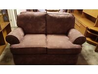 2 & 3 seater settees and footstool in floral aubergine, fire resistant
