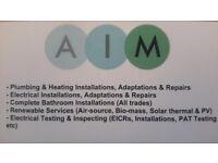 AIM Plumbing, Heating & Electrical (Inc Biomass, Wood Pellet, Oil, Solar & Air Source